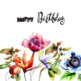 Stylized spring flowers. Watercolor illustration, birthday card Royalty Free Stock Images