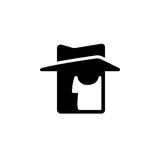 Stylized spy icon. Face silhouette with hat and dark glasses, secret service agent vector symbol stock illustration