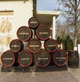 Stylized and stacked pyramid of wine casks with the inscription varieties near the wine Museum Royalty Free Stock Photos