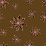Stylized star anise seamless pattern. Brown background. Abstract texture. Stock Image