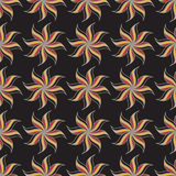 Stylized star anise seamless pattern. Dark background. Abstract Stock Image