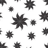 Stylized star anise seamless pattern. Dark gray elements on white background. Royalty Free Stock Photos