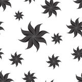 Stylized star anise seamless pattern. Dark gray elements on white background. Stock Photography