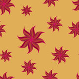 Stylized star anise seamless pattern. Red elements on yellow background. Royalty Free Stock Photography