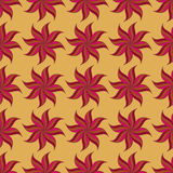 Stylized star anise seamless pattern. Red elements on yellow background. Stock Image