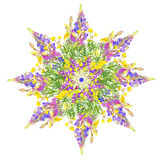 Stylized star floral pattern Stock Photo