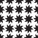 Stylized stars seamless pattern. Black elements on white background. Stock Photo