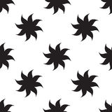 Stylized stars seamless pattern. Black elements on white background. Stock Photography