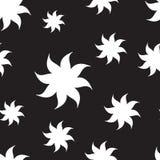 Stylized stars seamless pattern. White elements on black background. Stock Image