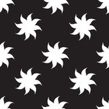 Stylized stars seamless pattern. White elements on black background. Royalty Free Stock Photo
