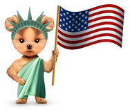 Stylized Statue of Liberty holding american flag. Concept of Independence Day. Realistic 3D illustration royalty free illustration