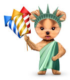 Stylized Statue of Liberty holding firework rocket. S, Concept of Independence Day. Realistic 3D illustration stock illustration
