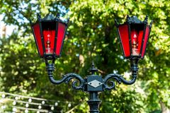 Stylized street lights. Against the trees in the city stock images