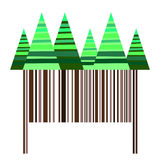 Stylized striped coniferous trees over brown barcode making trunks Royalty Free Stock Photos