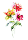 Stylized summer flowers illustration Royalty Free Stock Photo