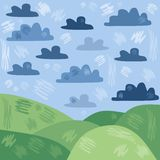 Stylized summer landscape. With green hills and clouds on blue sky Stock Photography