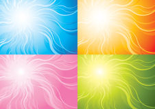 Stylized sun background. In four colours Stock Images