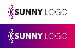 Stylized Sun Logo Flat Style. Round Warm Abstract Form. Vector Design Element Of The Summer Heat. Solar Icon Stock Photo