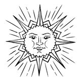 Stylized sun sketch. Vector sketch of a stylized sun with a face. An ancient symbol of life. The pagan god is the universe. Hand drawn illustration vector illustration