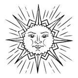 Stylized sun sketch Royalty Free Stock Image