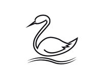 The stylized swan (stork) Royalty Free Stock Photo