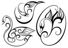 Stylized swan.Vector set of birds Stock Photography