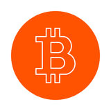 Stylized symbol of crypto currency bitcoin,  monochrome round icon, flat style Royalty Free Stock Photography