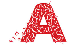 A. Stylized symbol A is red with the letters inside Stock Images