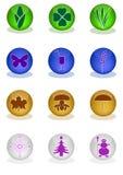 Stylized symboler av de fyra säsongerna Royaltyfria Bilder