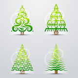Stylized symbols of christmas tree. Set of original vector christmas trees. Qualitative vector (EPS-10) design elements for new years day, christmas, winter Royalty Free Stock Image