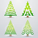 Stylized symbols of christmas tree. Set of original vector christmas trees. Qualitative vector (EPS-10) design elements for new years day, christmas, winter Royalty Free Stock Photography