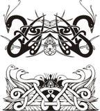 Stylized symmetric knot vignettes with birds Royalty Free Stock Image