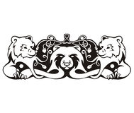 Stylized symmetric vignette with bears Royalty Free Stock Photo