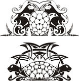 Stylized symmetric vignette with turtles. Vector illustration EPS8 Stock Images