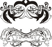Stylized symmetric vignettes with dolphins and fish Royalty Free Stock Image