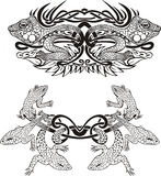 Stylized symmetrisk karaktärsteckning med ödlor Arkivfoton