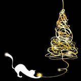 Stylized tangle christmas tree with a cat Stock Image