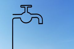 Stylized tap and a blue sky to the bottom Stock Photo