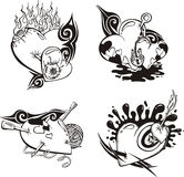Stylized Tattoos with Hearts. Set of black and white vector illustrations Stock Image