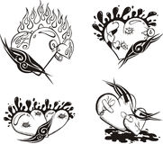 Stylized Tattoos with Hearts. Set of black and white vector illustrations Royalty Free Stock Image