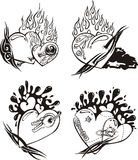 Stylized Tattoos with Hearts. Set of black and white vector illustrations Stock Images