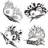 Stylized Tattoos with Hearts. Set of black and white vector illustrations Stock Photography