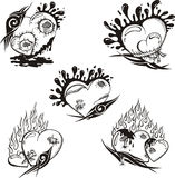 Stylized Tattoos with Hearts. Set of black and white vector illustrations Royalty Free Stock Photos