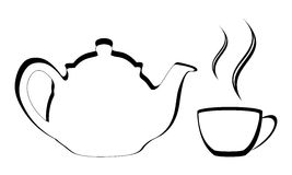 Stylized teapot with cup. Vector of a Stylized teapot with steamy cup of tea or coffee Stock Photography