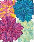 Stylized texturerade bakgrund med ljusa färgrika blommor Royaltyfria Bilder