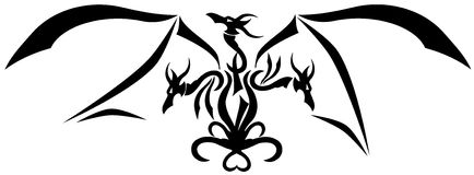 Stylized Three-headed Dragon Tattoo Isolated Royalty Free Stock Images