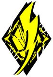 Stylized Thunderbolt on decoration isolated. A colorful thunderbolt on an artistic background in black and yellow. An idea for logos or to decorating t-shirt or Stock Photography