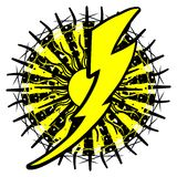Stylized Thunderbolt on decoration isolated. A colorful thunderbolt on an artistic background in black and yellow. An idea for logos or to decorating t-shirt or Royalty Free Stock Image