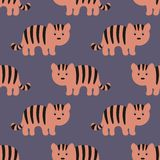 Stylized tiger cartoon style. Background. Stylized tiger cartoon style. Seamless vector pattern Royalty Free Stock Photos