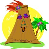 Stylized Tiki with Palm Tree Royalty Free Stock Photography